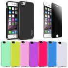 For iPhone 7 / 7 Plus Rubber Jelly TPU Case Cover + Privacy Tempered Glass Film