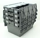 VGC Used 4 x Heavy Duty Plastic Storage Box Boxes With Folding Lids Free P&P
