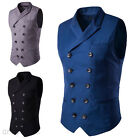 Fashion Men's Vintage Formal Casual Dress Vest Suits Slim Fit Tuxedos Tops Coat