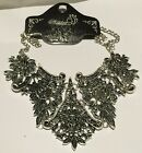 Silver toned large Ornate filigree design pendant necklace