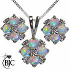 BJC® 9ct White Gold Natural Opal & Diamond Necklace Pendant & Stud Earrings