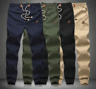 Fashion Men's Drawstring Jogger Fit Cotton Mid Rise Trousers Sport Joggers Pants
