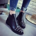 Punk Faux Leather Rivet Stud Round Toe Flat Booties Ankle Boots Women's Shoes