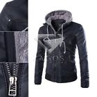 Fashion Men Black Slim Fit Hooded Motorcycle PU Leather Jacket Coat M-XXL