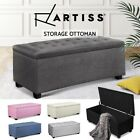 Blanket Box Storage Ottoman PU Leather Fabric Chest Toy Foot Stool Bed