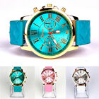 Women's GENEVA Roman Stainless Steel Leather Analog Quartz Wrist Watch Casual MO