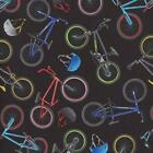 IN MOTION BIKES BICYCLES ON BLACK Cotton Fabric BTY for Quilting Craft Etc