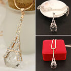 Fashion Womens Tower Crystal Ball Pendant Long Necklace MI
