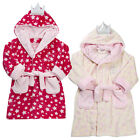 Girls Hooded Princess Dressing Gown Two Colours Pink Or Cream 2-3 up to 5-6Y