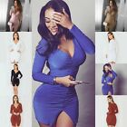 Hot Women Long Sleeve Bodycon Bandage Clubwear Evening Party Night Mini Dress