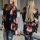 Women Coat Floral Printed Long Sleeve Outwear Causal Jacket Cardigans S-XL