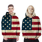 Women/Men Vintage American Flag Usa Hooded Casual Sweater Coat Jacket for Lover