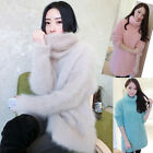 Womens Faux Mink Cashmere Loose Pullovers Turtleneck Cardigans Sweater Jumpers
