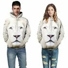 1 Piece Hot Women's Men Ladies 3D Print White Lion T-Shirt Hooded Sweater