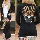 Women Black Long Sleeve Shirt Hollow Out Skull Backed Sweaters Cardigan tb