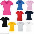 3 x Fruit of the Loom Ladies Fitted V Neck T Shirts 9 Great Colours Sizes 8-18