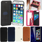 For iPhone 7/7 Plus Flip Leather Cover Mirror Case + 9H Tempered Glass Film LOT