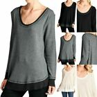 Long Sleeve Waffle Thermal Scoop Neck Loose Top Contrast Ribbed Raw Edge S M L