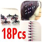 18 PCS Lots Girls Sweet Rhinestone Crystal Flower Mini Hair Claws Clips Clamps