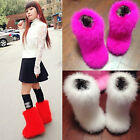 New 26cm tube Women Soft real hairy Feather furry Fur flats Snow Mid calf Boots