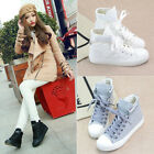 New Women's White High Top Strappy Ankle Boots Canvas Rubber Baseball Flat Shoes