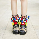 Pom-Pom Womens Sequin Flower Pull on Ethnic Winter Snow Ankle Boots Party Shoes
