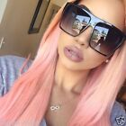 "Flat Top Huge Big Oversized XXL Square Women Sunglasses ""Lauren""  BLACK Shades"
