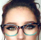 Cat Eye  Ombre Women Eyeglasses Tortoise Pink or Aqua Two Tone Gradient Shadz