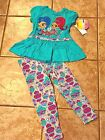 NWT Shimmer and Shine 2 Pc Outfit Turquoise Blue Leggings Shirt Tunic 2T 3T