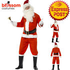 CA125 Deluxe Santa Claus Mens Christmas Costume Xmas Fancy Dress Up Party Outfit