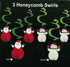 3pk Honeycomb Hanging Swirls Christmas Party Decor Father Xmas or Snowman Red