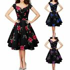 Floral Printed Fashion Women Vintage Style Rockabilly Check Swing Retro Dress