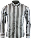 NEW MADCAP RETRO MOD 70s ROLLER CANDY STRIPE WELLER SHIRT: Grey/Charcoal MC290