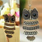 Vintage Rhinestone OWL Pendant Long Chain Necklace Jewelry Gift Women Fashion