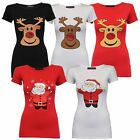Ladies Christmas T Shirt Womens Top Reindeer Satna Xmas Novelty Snowflakes New