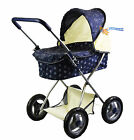 Dolls Pram Spotty Navy or Pink Dots Pushchair Buggy Stroller with Storage Basket