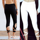 Women's Sports Gym Yoga Workout Cropped Leggings Pants Fitness Stretch Trousers
