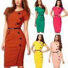 Summer Casual Victorian Womens fashion Ladies Shift office bodycon Dress Size