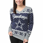 Dallas Cowoys Women's Navy Big Logo V-Neck UGLY Christmas Sweater NEW