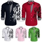 COOFANDY Men Long Sleeve Turn Down Neck Loose Tops Casual Cotton Shirts N4U8