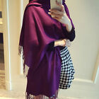 Fashion Womens Winter Warm Solid Long Pashmina Shawl Wrap Cashmere Silk Scarf