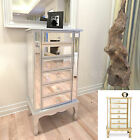 Mirrored 6 Drawer Tallboy Chest of Drawers Gold Silver Mirror Furniture