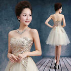 L353 Champagne Strapless Prom Party Club Dress Bridesmaids Short Skirt Sequins