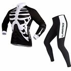 Men Unisex Long Sleeve Cycling Jersey Pants set Bicycle Bike Padded Tights