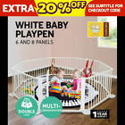 Baby Kids Toddler Deluxe White Wooden Playpen Divider Safety Gate 6 or 8 Panel