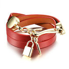 Wrap Bracelets for Womens Only Key Lock Couples Charms Leather, Black /Red /Pink