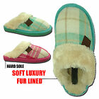 Ladies Wicklow Tartan Fur Lined Trim Slip On Mule Luxury Winter Slippers Shoes