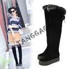 Fashion Winter Women Casual Lace Up back Fur Trim Platform Heels Knee High Boots