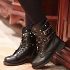 Women Lace up Belts Round Toe Boots Punk Gothic Martin Shoes Short Boot