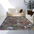 Casual Taupe Floral Vine Area Rug Transitional Petals Multi-Color Leaves Nature